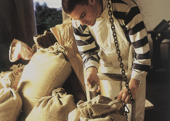 Preparing flour sacks